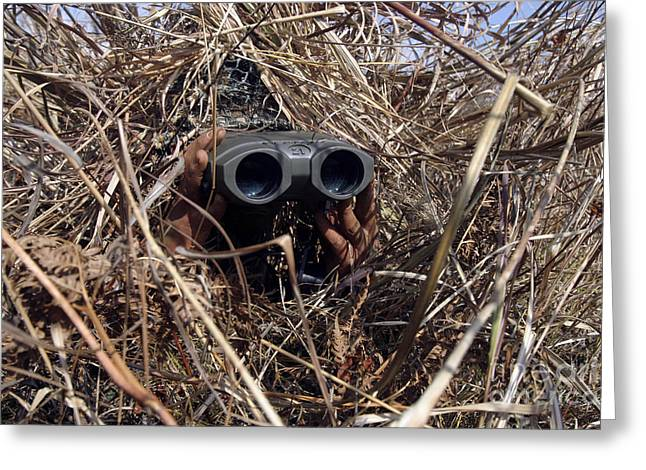 Field Glasses Greeting Cards - A Scout Observer Practices Observation Greeting Card by Stocktrek Images