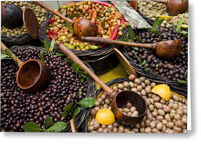 Languedoc Greeting Cards - A Selection Of Olives Sit Greeting Card by Taylor S. Kennedy