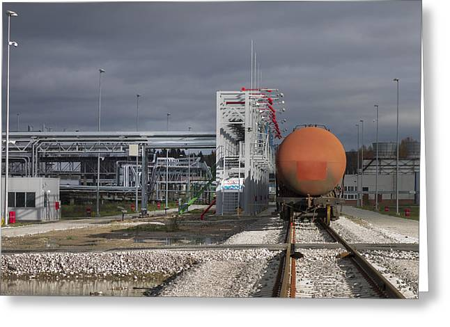 Shale Greeting Cards - A Shale Oil Storage Facility Greeting Card by Jaak Nilson