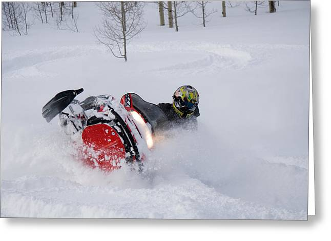 Snowmobile Greeting Cards - A Snowmobiler Spins Through Deep Powder Greeting Card by Taylor S. Kennedy