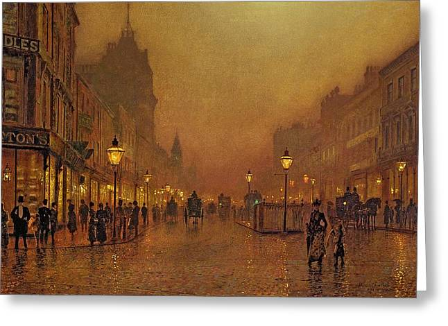Shopping Greeting Cards - A Street at Night Greeting Card by John Atkinson Grimshaw
