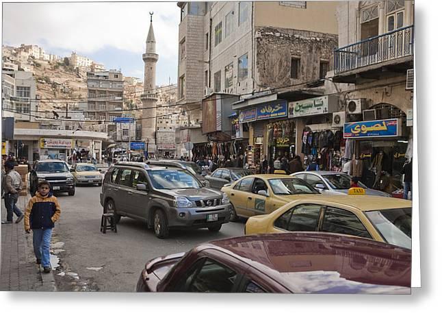A Street Scene In Amman, Jordan Greeting Card by Taylor S. Kennedy