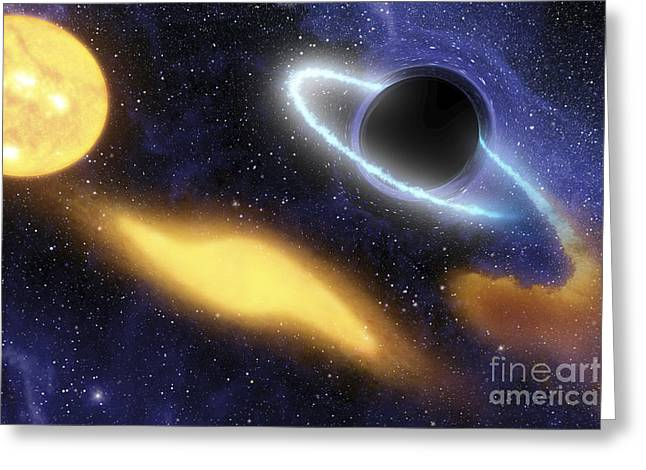 Disk Greeting Cards - A Supermassive Black Hole At The Center Greeting Card by Stocktrek Images