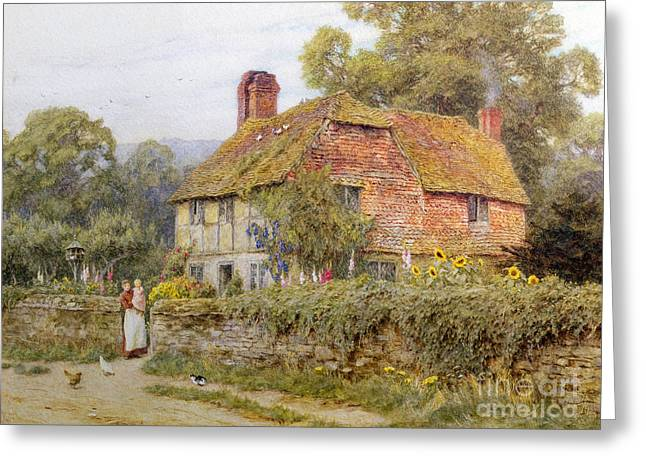 Surrey Greeting Cards - A Surrey Cottage Greeting Card by Helen Allingham