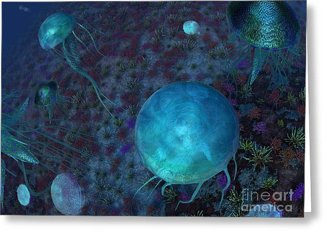 Sea Life Digital Art Greeting Cards - A Swarm Of Jellyfish Swim Greeting Card by Walter Myers