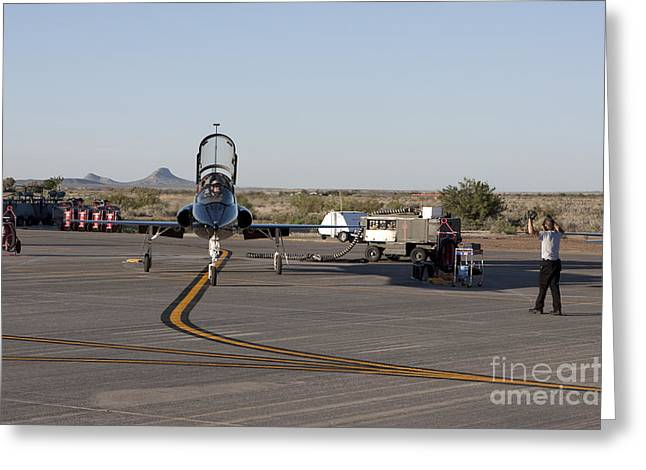 Us Open Photographs Greeting Cards - A T-38 Pilot Prepares To Taxi Greeting Card by HIGH-G Productions
