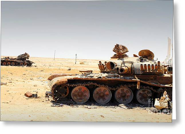 Intervention Greeting Cards - A T-80 Tank Destroyed By Nato Forces Greeting Card by Andrew Chittock