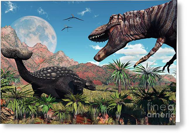 Ankylosaurus Digital Greeting Cards - A T. Rex Confronts An Ankylosaurus Greeting Card by Mark Stevenson