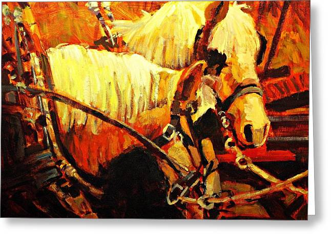 Horse Farm Greeting Cards - A-team Greeting Card by Brian Simons