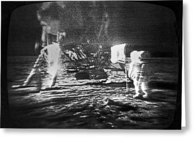 Edwin A Greeting Cards - A Televised View Of The Apollo 11 Greeting Card by Rex A. Stucky