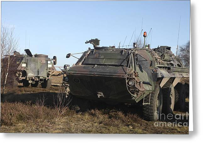 Center Field Greeting Cards - A Tpz Fuchs Armored Personnel Carrier Greeting Card by Timm Ziegenthaler