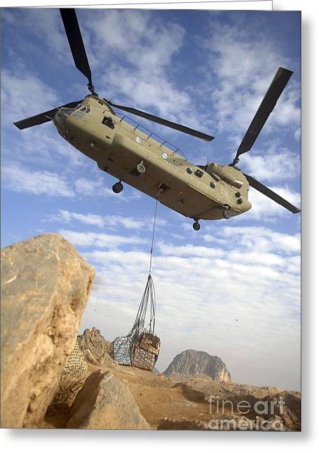 Low Wing Photographs Greeting Cards - A U.s. Army Ch-47 Chinook Helicopter Greeting Card by Stocktrek Images