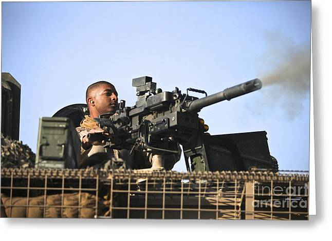 40mm Greeting Cards - A U.s. Marine Fires A Gmg Automatic Greeting Card by Terry Moore