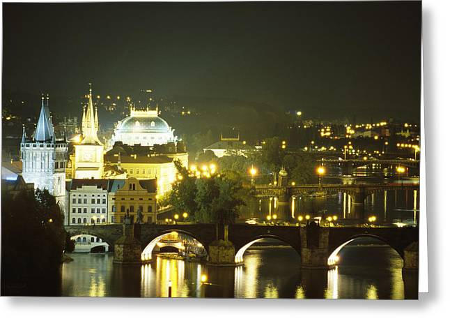 Night Scenes Greeting Cards - A view down the Vltava Greeting Card by Taylor S. Kennedy