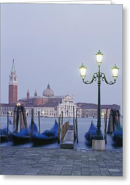 Streetlight Greeting Cards - A View Of The San Giorgio Maggiore Greeting Card by Richard Nowitz
