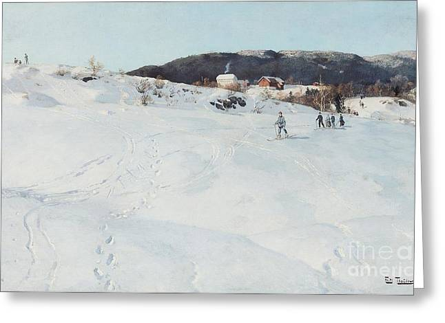Mountain Cabin Greeting Cards - A Winters Day in Norway Greeting Card by Fritz Thaulow