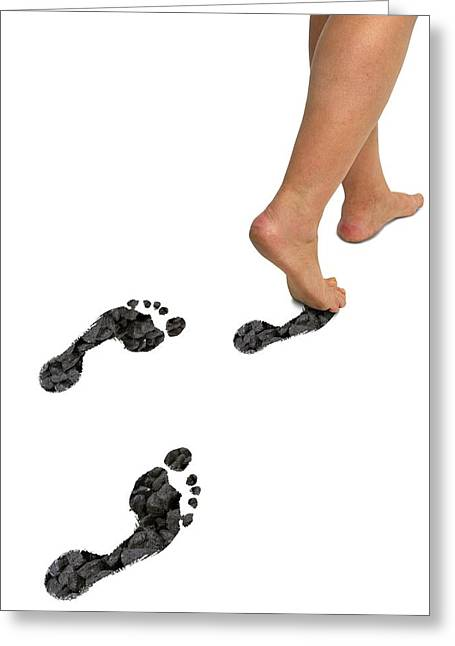 Global Awareness Greeting Cards - A Womans Feet Leaving Carbon Footprints Greeting Card by Victor De Schwanberg