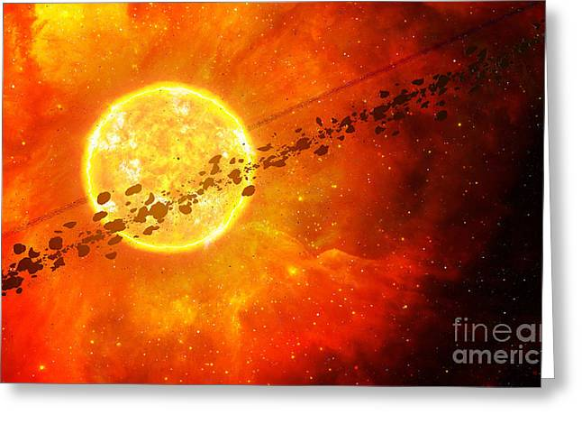 Young Stars Greeting Cards - A Young Star Circled By Debris Greeting Card by Frieso Hoevelkamp