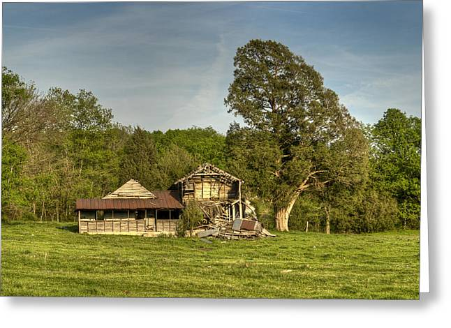 Tennessee Farm Greeting Cards - Abandoned Collapsed Farm House Greeting Card by Douglas Barnett