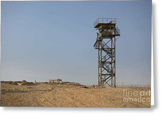 Abandoned Watchtower In The Desert Greeting Card by Noam Armonn