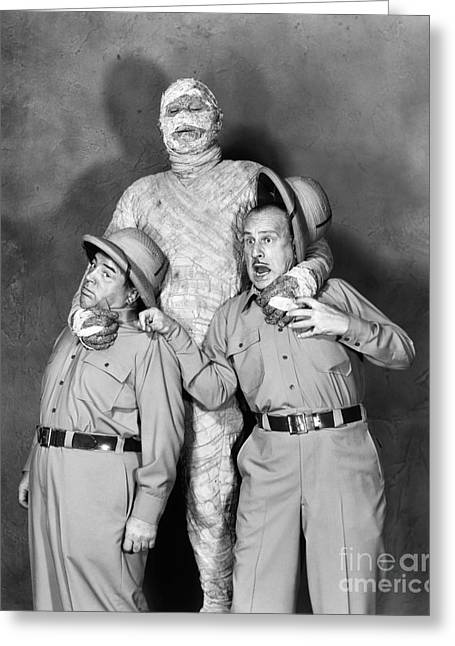 The Mummy Greeting Cards - Abbott And Costello Greeting Card by Granger