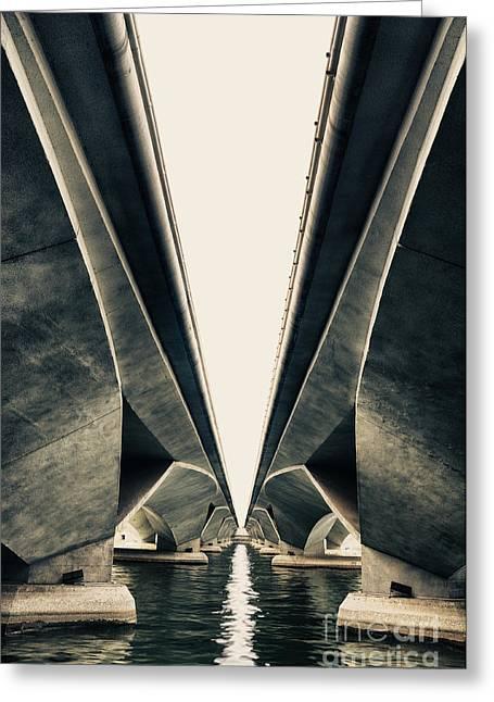 City Lights Greeting Cards - Abstract bridge Greeting Card by Panupong Roopyai