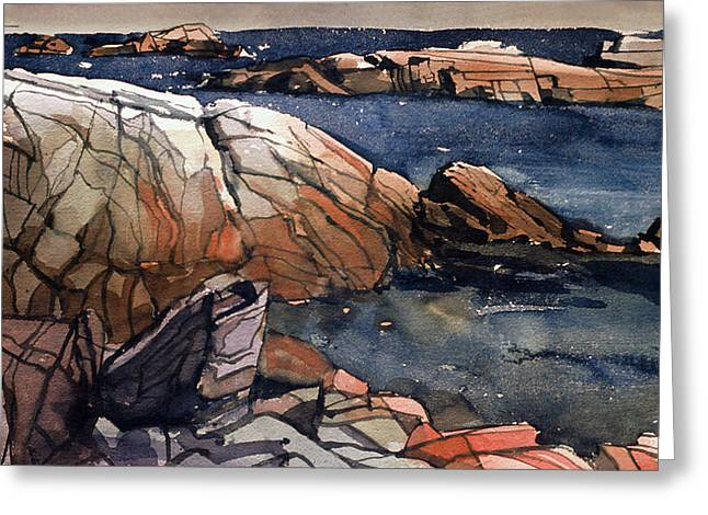Maine Beach Paintings Greeting Cards - Acadia Rocks Greeting Card by Donald Maier