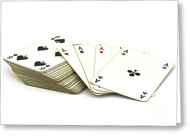 Playing Cards Photographs Greeting Cards - Ace card Greeting Card by Blink Images