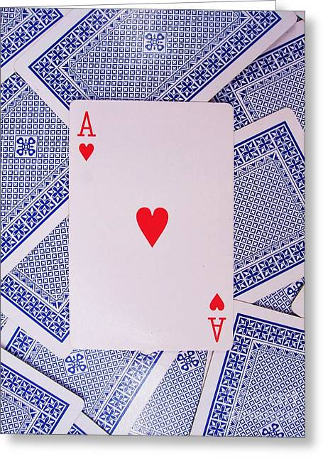 Valentine Greeting Cards - Ace of Hearts Greeting Card by Deborah Brewer