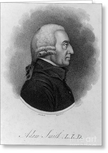 Moral Greeting Cards - Adam Smith, Scottish Philosopher & Greeting Card by Photo Researchers