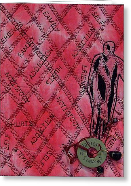 Family Tapestries - Textiles Greeting Cards - Addiction Greeting Card by A Carole Atterbury