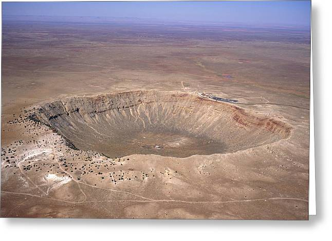 Meteor Greeting Cards - Aerial View Of Meteor Crater, Arizona Greeting Card by David Parker