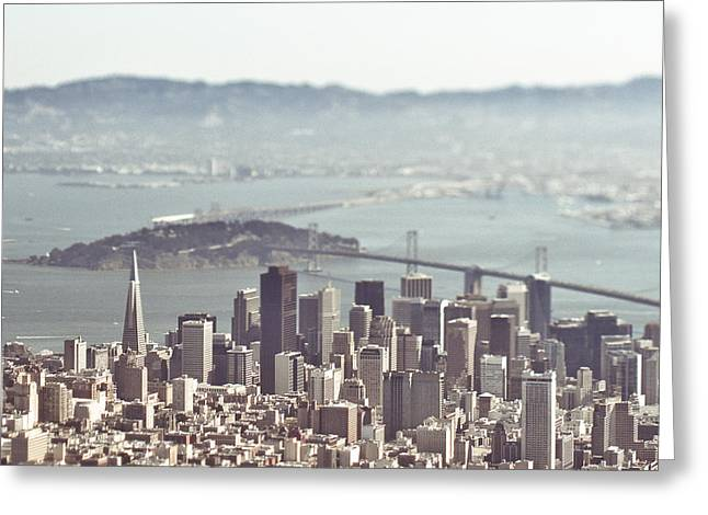Downtown San Francisco Greeting Cards - Aerial View of San Franciso Greeting Card by Eddy Joaquim