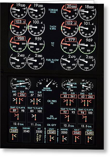 Fuel Gauge Greeting Cards - Aeroplane Control Panel Display Greeting Card by Mark Williamson