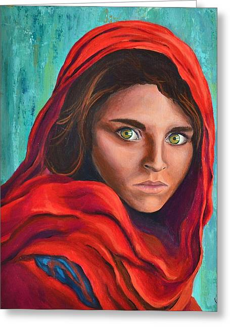 Cover The Pain Greeting Cards - Afghan Girl Greeting Card by Cristina Gosserez