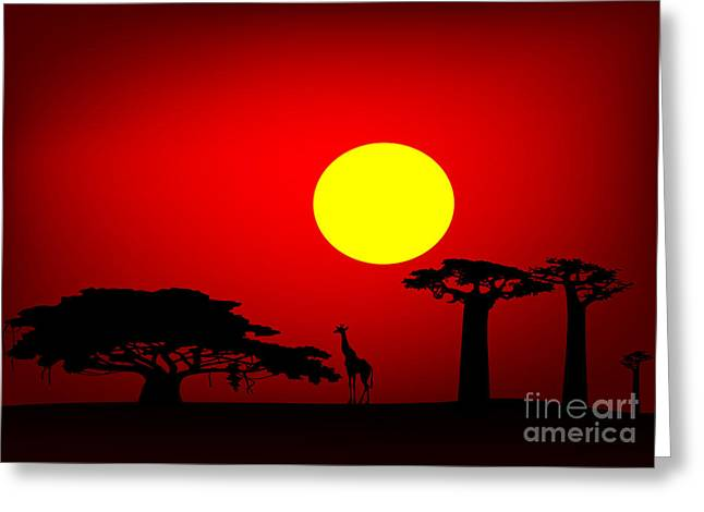 Recently Sold -  - Gloaming Greeting Cards - Africa sunset Greeting Card by Michal Boubin