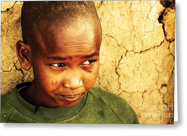 Social Life Photographs Greeting Cards - African child Greeting Card by Anna Omelchenko