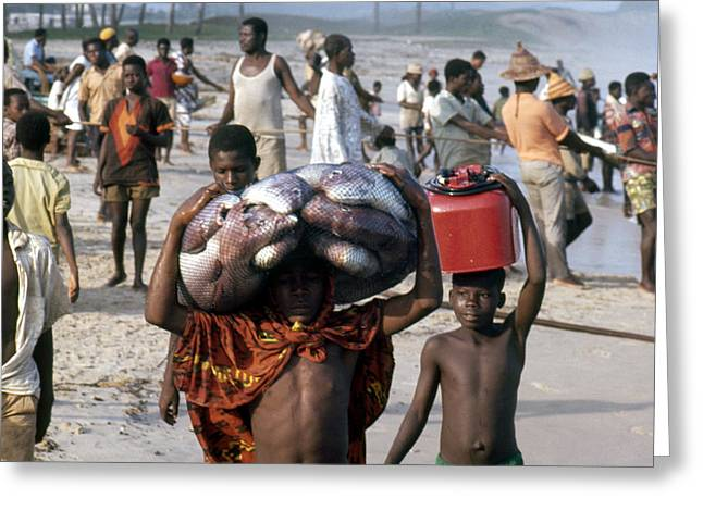 Recently Sold -  - 20th Greeting Cards - African Fishermen Greeting Card by Erik Falkensteen