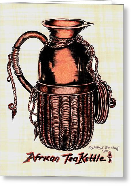 Jugs Drawings Greeting Cards - African Tea Kettle Greeting Card by Kathy-Lou