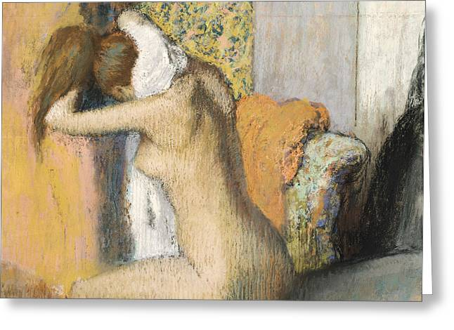 Degas; Edgar (1834-1917) Greeting Cards - After the Bath Greeting Card by Edgar Degas