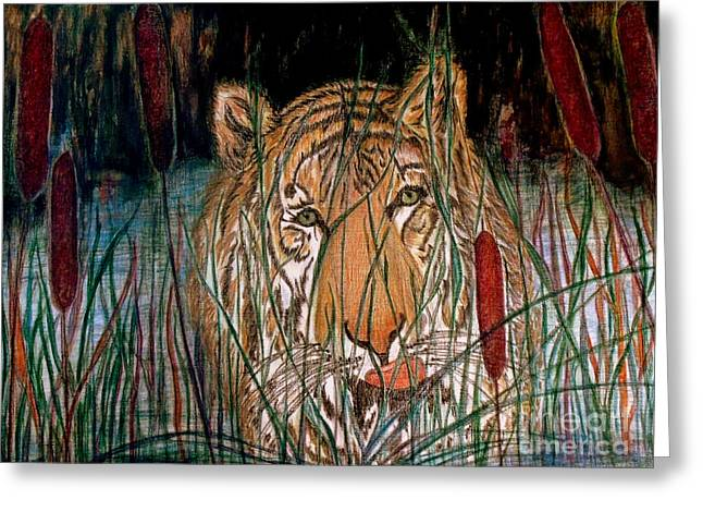 Wild Life Drawings Greeting Cards - After The Swim Greeting Card by Brenda L Spencer