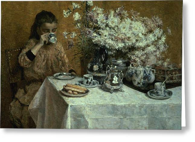 Cloth Greeting Cards - Afternoon Tea Greeting Card by Isidor Verheyden
