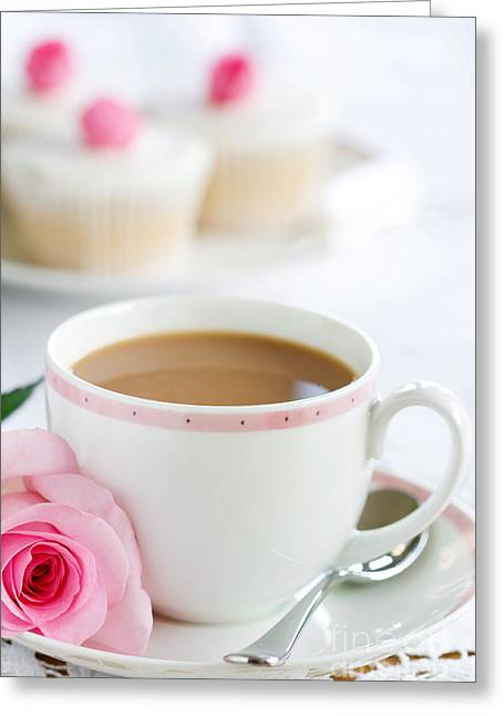 Teaspoon Greeting Cards - Afternoon tea Greeting Card by Ruth Black
