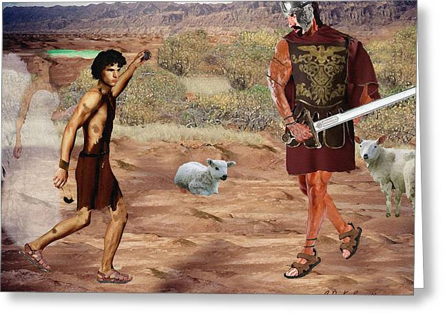 Bible; David; Goliath Greeting Cards - Against all odds Greeting Card by CDK Surrett