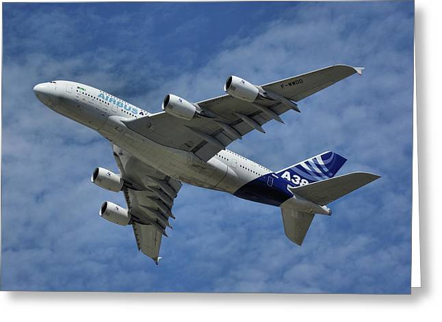 A380 Greeting Cards - Airbus A380 Greeting Card by Tim Beach