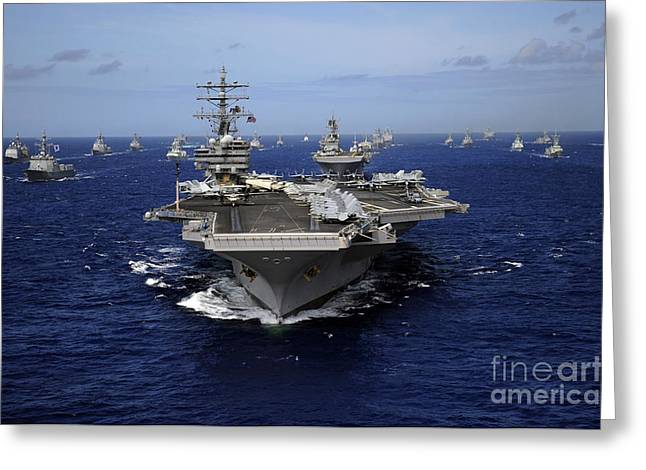 Convoy Greeting Cards - Aircraft Carrier Uss Ronald Reagan Greeting Card by Stocktrek Images
