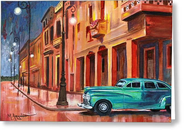 Havana Greeting Cards - Al Caer la Noche Greeting Card by Maria Arango