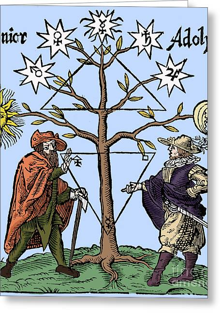 1400s Greeting Cards - Alchemical Celestial Tree Greeting Card by Science Source