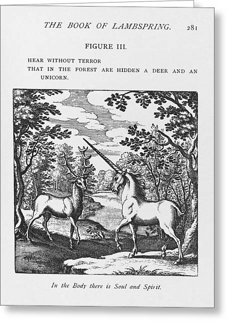 Black Unicorn Greeting Cards - Alchemy Greeting Card by Science, Industry & Business Librarynew York Public Library
