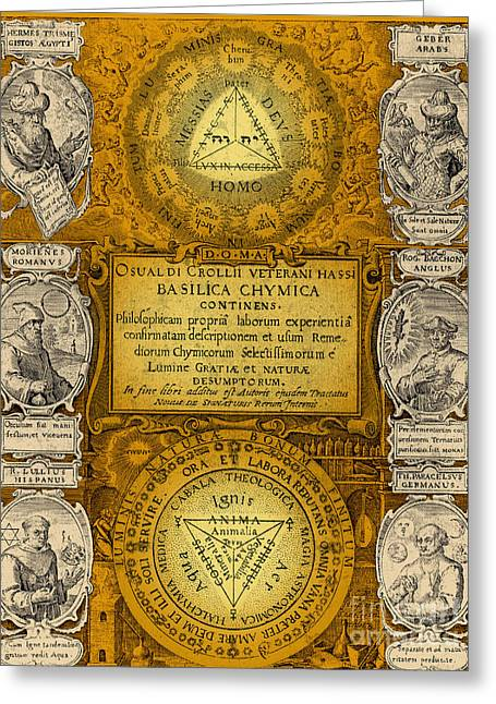 Color Enhanced Greeting Cards - Alchemy Treatise Greeting Card by Science Source
